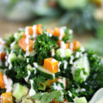 Butternut Squash Kale Salad with Maple Tahini Dressing