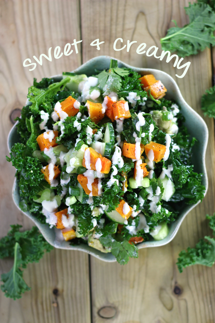 A roasted butternut squash kale salad with a creamy maple tahini dressing. A delicious vegan salad recipe to get your greens in even during the colder months!
