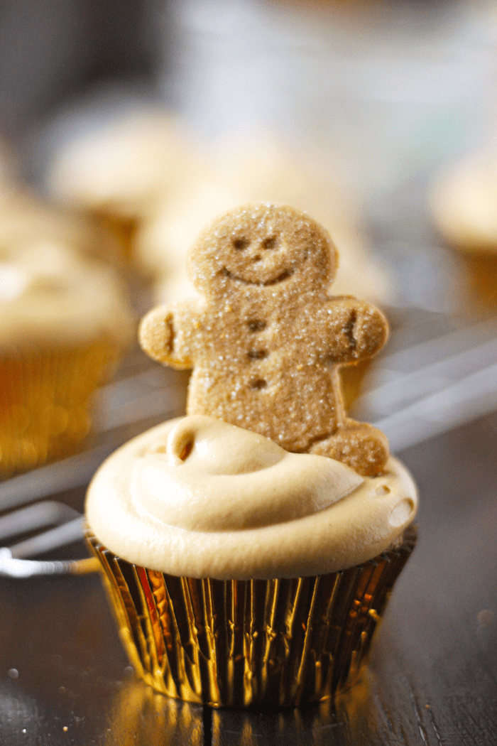 Healthy Gingerbread Cupcakes recipe with a creamy Vegan Molasses Cashew Buttercream frosting.