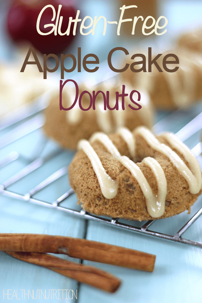Healthy gluten free apple cake donuts with a creamy maple glaze.