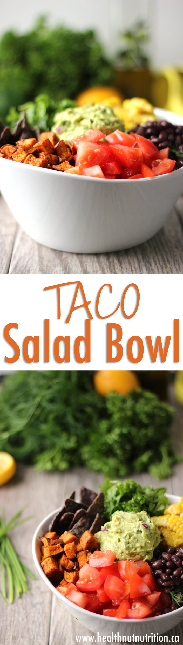 A healthy taco salad bowl with a creamy ranch hemp dressing.