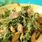 Warm Crispy Mushroom Arugula Salad