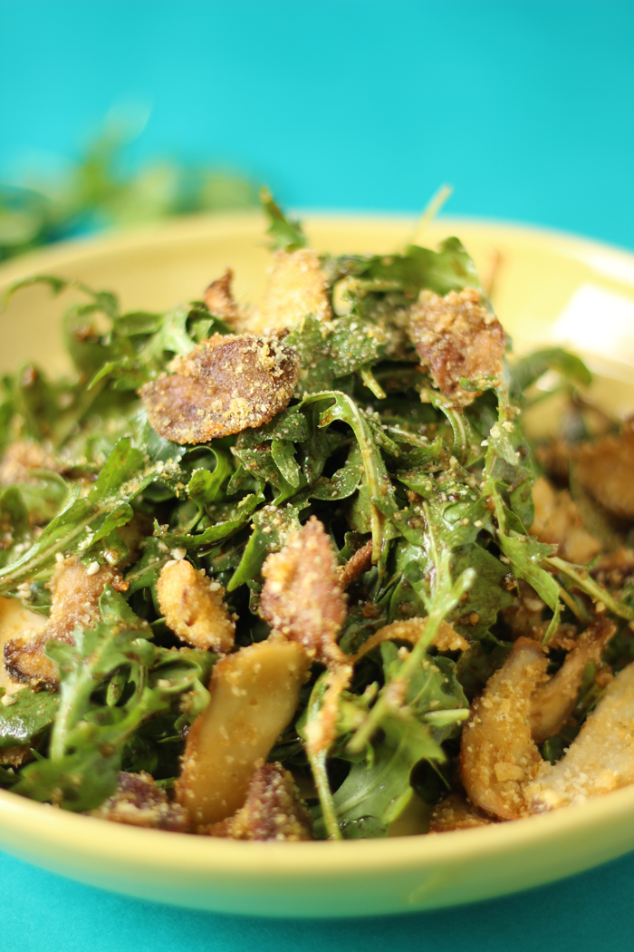 This savoury Warm Crispy Mushroom Arugula Salad takes less than 30 min to prep and will be the fanciest looking dish at your next dinner party!