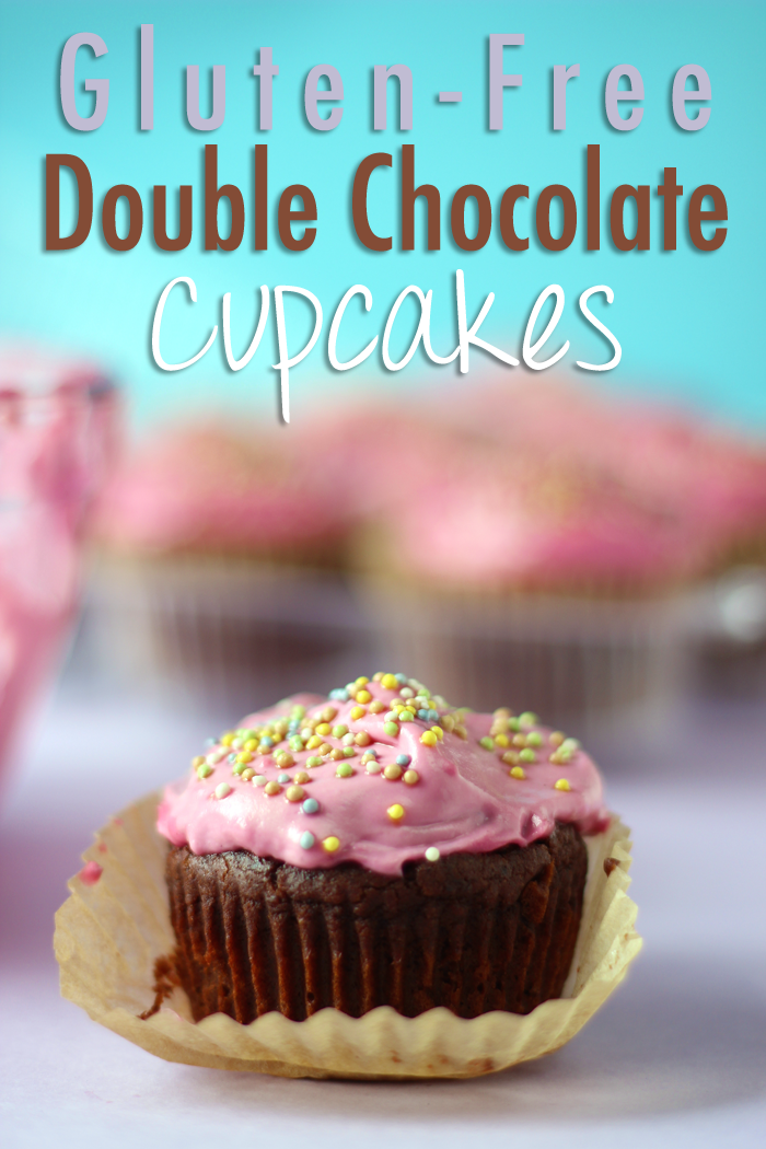 Healthy Gluten Free Double Chocolate Cupcakes with a Dairy Free Pink Buttercream Frosting