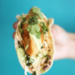 "Crispy ""Beer"" Battered Fish Tacos with Avocado Hemp Crema"