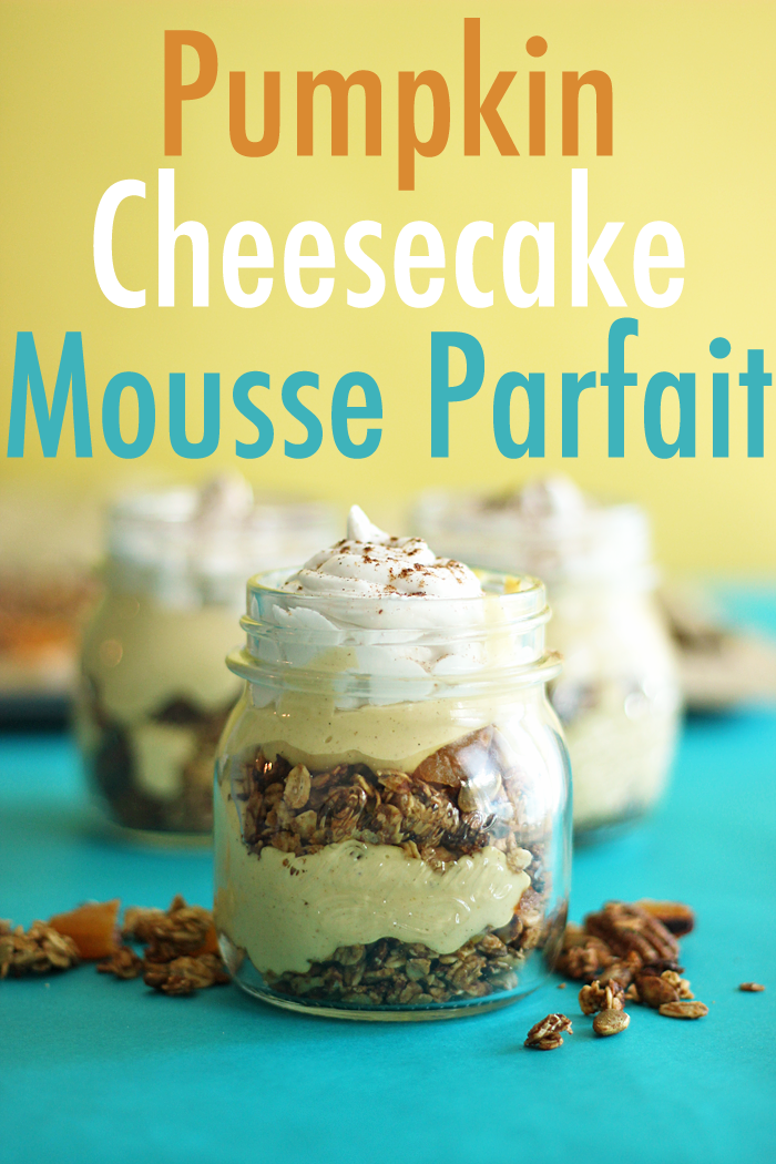 Trade in the Pumpkin Pie this Fall for decadent Dairy-Free Pumpkin Cheesecake Mousse Parfaits; layered with crunchy pumpkin pie spiced granola and topped with homemade coconut whip.