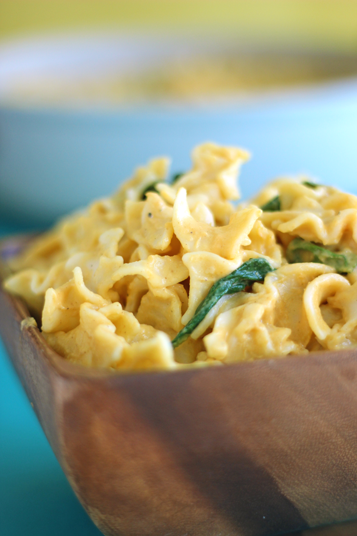 Alfredo just got a makeover! This Dairy-Free Pumpkin Alfredo is a super easy pasta dish, smothered in a delicious pumpkin Alfredo sauce and tossed with steamed spinach.