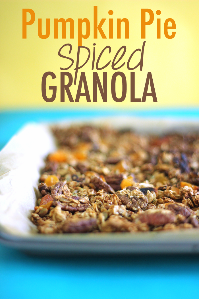 Gluten Free, crunchy Spiced Pumpkin Pie Granola; this fall inspired snack is perfect for cereal, yogurt parfaits or straight up snacking!