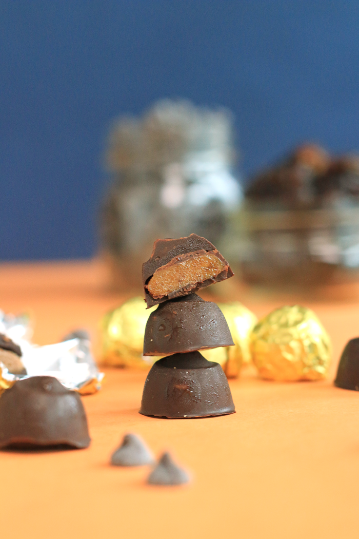 "Easy one bite homemade chocolate caramel ""Rolos"" with a date caramel center covered in chocolate. 