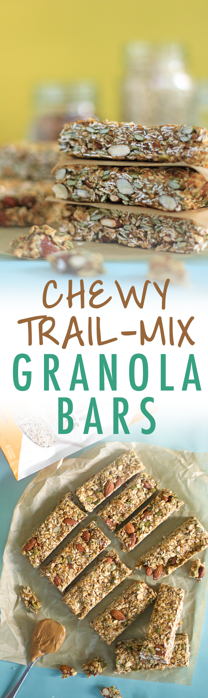 Hearty chewy granola bars loaded with toasted oats and almonds and a date and peanut butter caramel to hold it all together. | HEALTHNUT NUTRITION |
