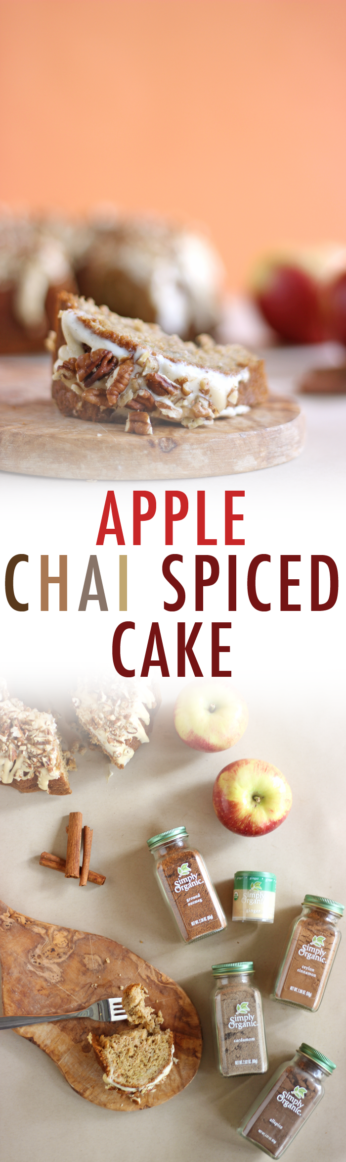 BEST APPLE CHAI CAKE EVER!! A healthy Apple Chai Spiced Cake made with the perfect blend of warming organic spices and topped with a dairy free maple glaze drizzle.