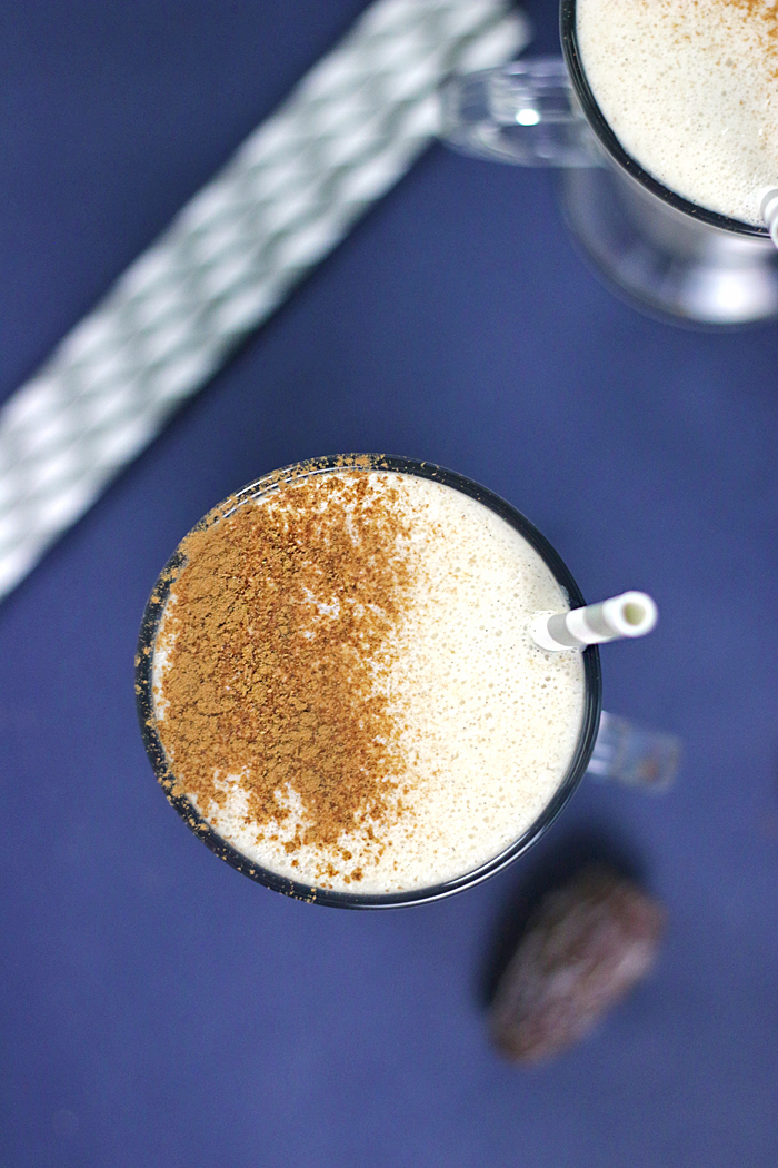 A dairy-free holiday nog drink made with homemade cashew milk and spiced to perfection with nutmeg, clove and cinnamon.