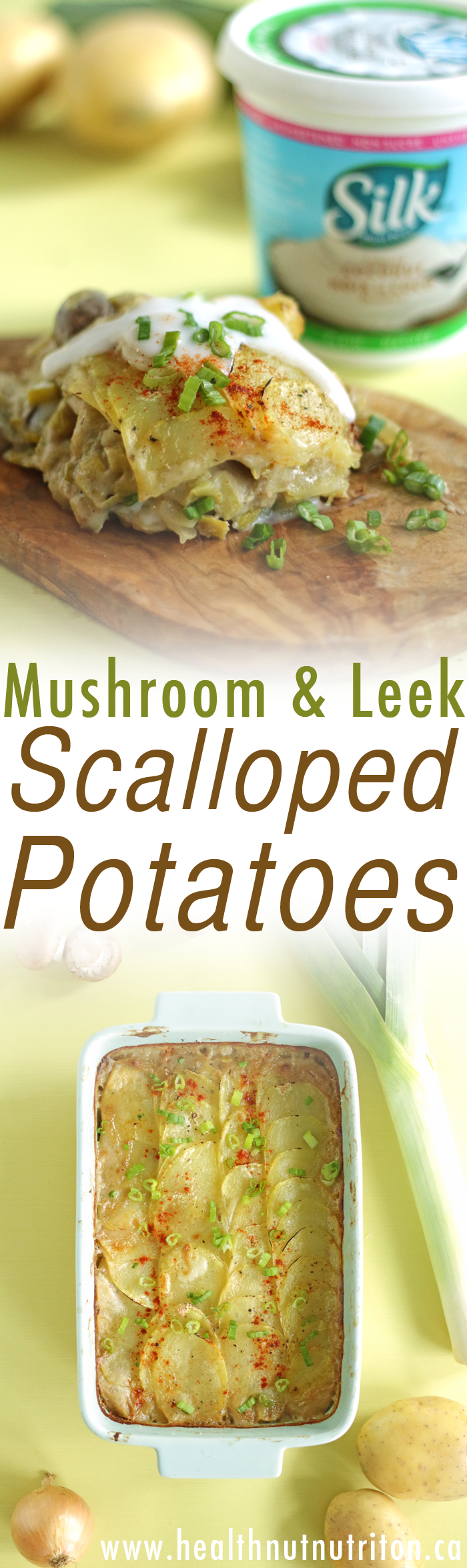 A creamy, dairy-free mushroom and leek twist on your classic scalloped potatoes casserole, perfect for your next potluck or holiday dinner.