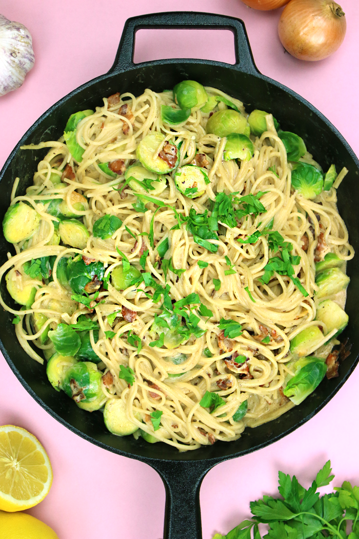 EASY GF & GF Brussels Sprouts Carbonara made in 30 min! }| HEALTHNUT NUTRITION