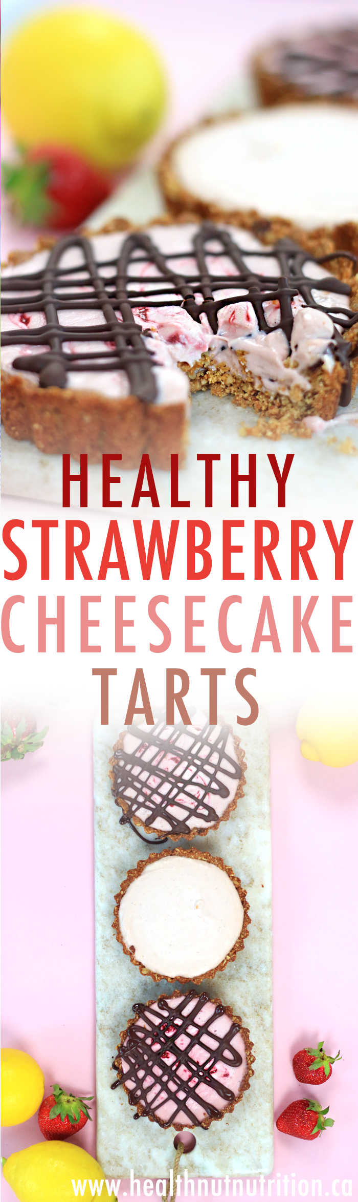 Healthy Strawberry Cheesecake Tarts | V, DF & GF