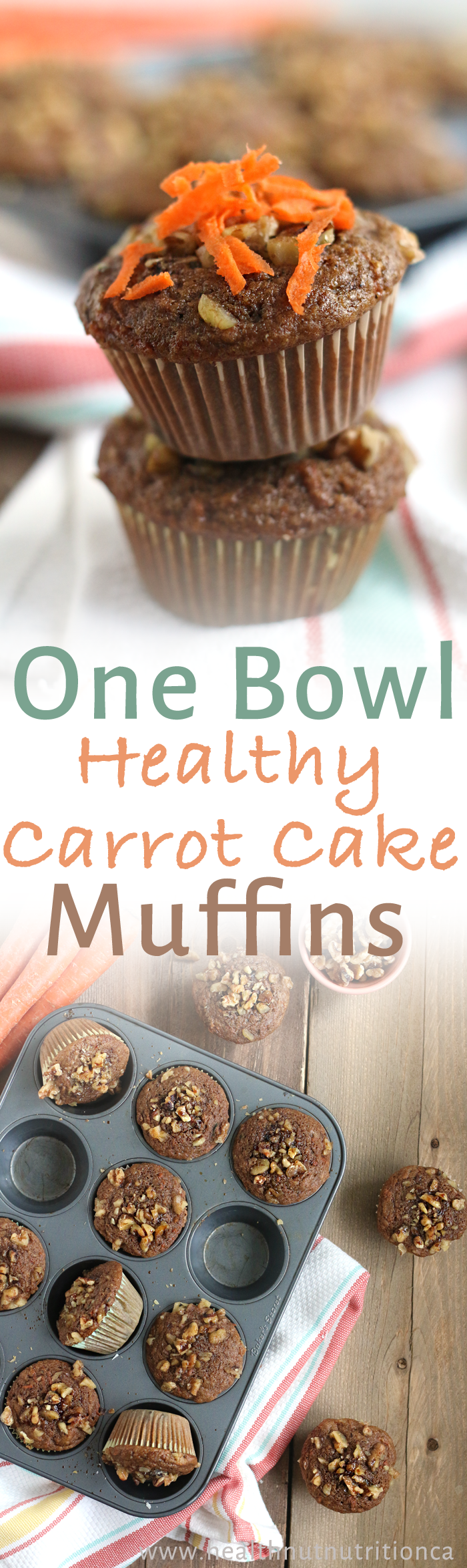 Healthy 1-Bowl Carrot Cake Muffins ready in 30 min! HealthNut Nutrition