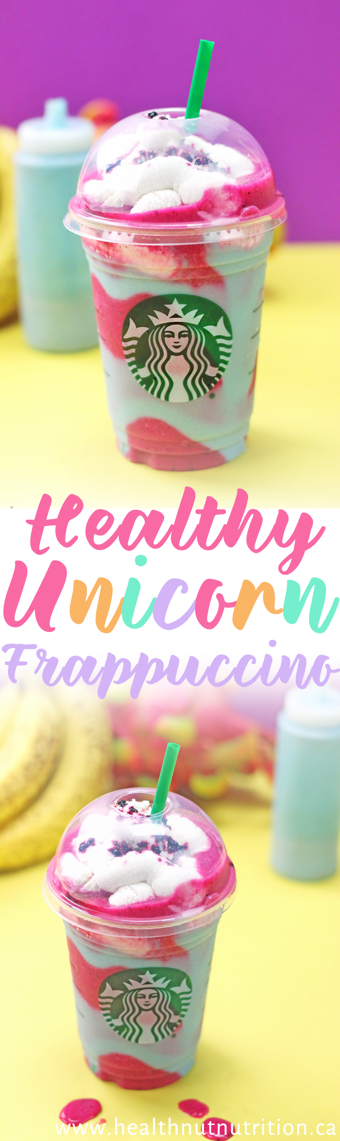 A magical healthy homemade Unicorn Frappuccino!