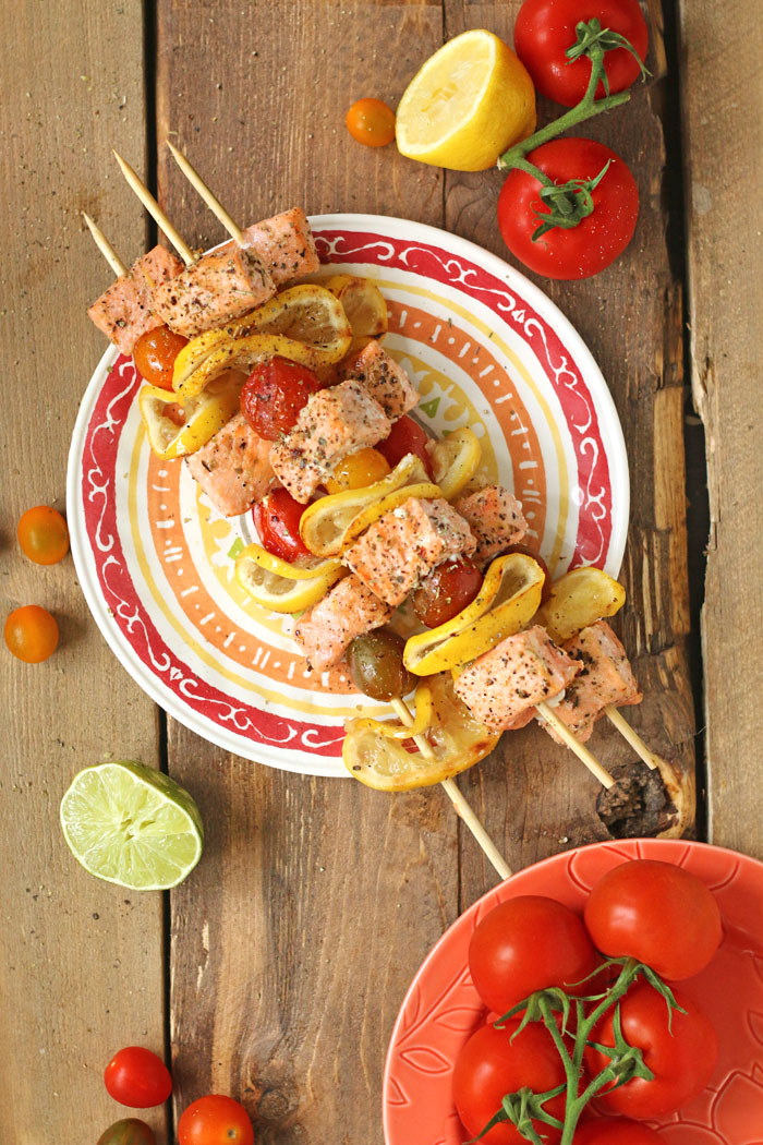 EASY & HEALTHY Lemon Pepper Salmon Kebabs made in less than an hour!