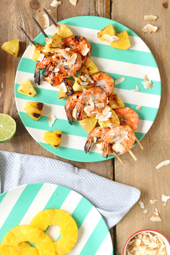 Sweet and tangy Pineapple and Shrimp Kebabs with coconut and lime.