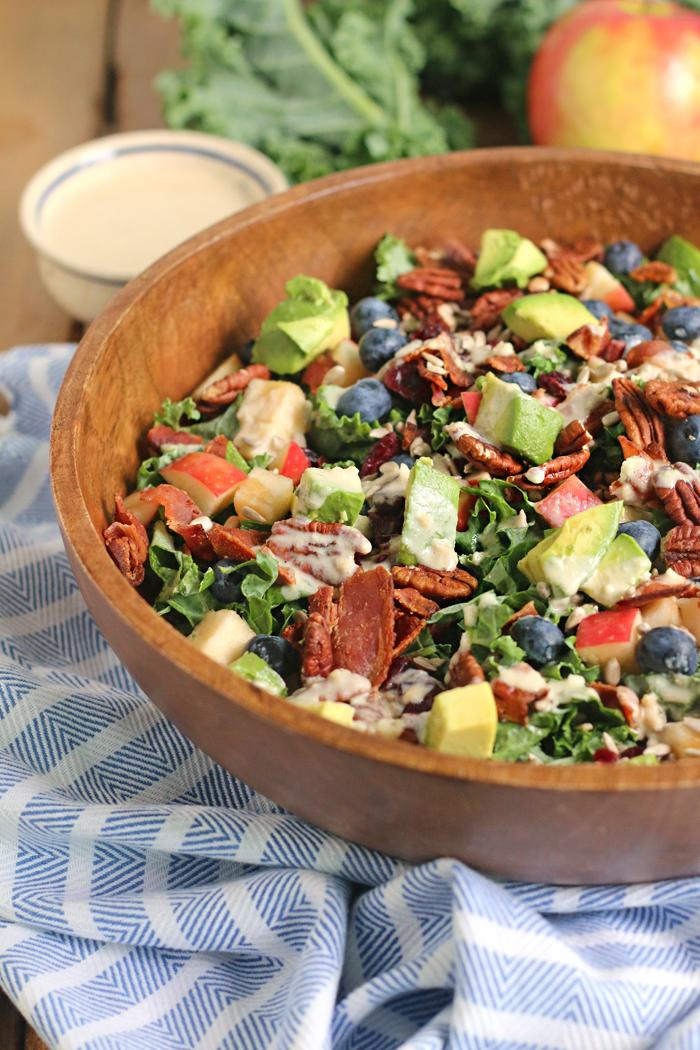 The perfect Kale Salad with apple chunks, crispy bacon and a creamy Maple Tahini Dressing! GF & DF!