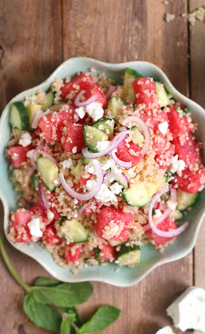 The prettiest Watermelon Cucumber & Quinoa Summer Salad. GF