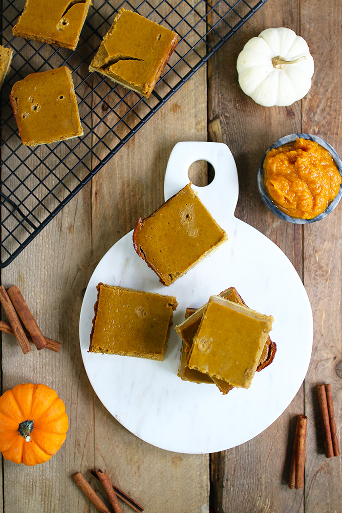 EASY & HEALTHY Pumpkin Pie Squares with a crisp chewy almond and coconut gluten free crust.