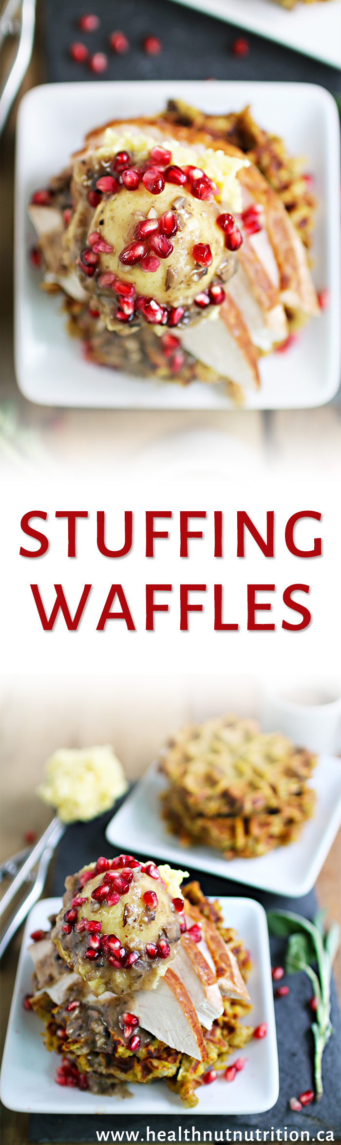 Thanksgiving leftovers all wrapped up in a tasty stuffing waffle tower smothered in a mushroom gravy.