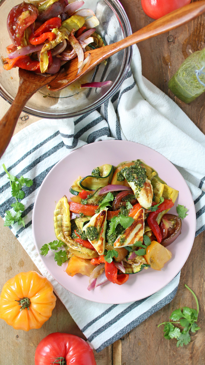 Grilled Veggie Salad with Chimichurri Sauce