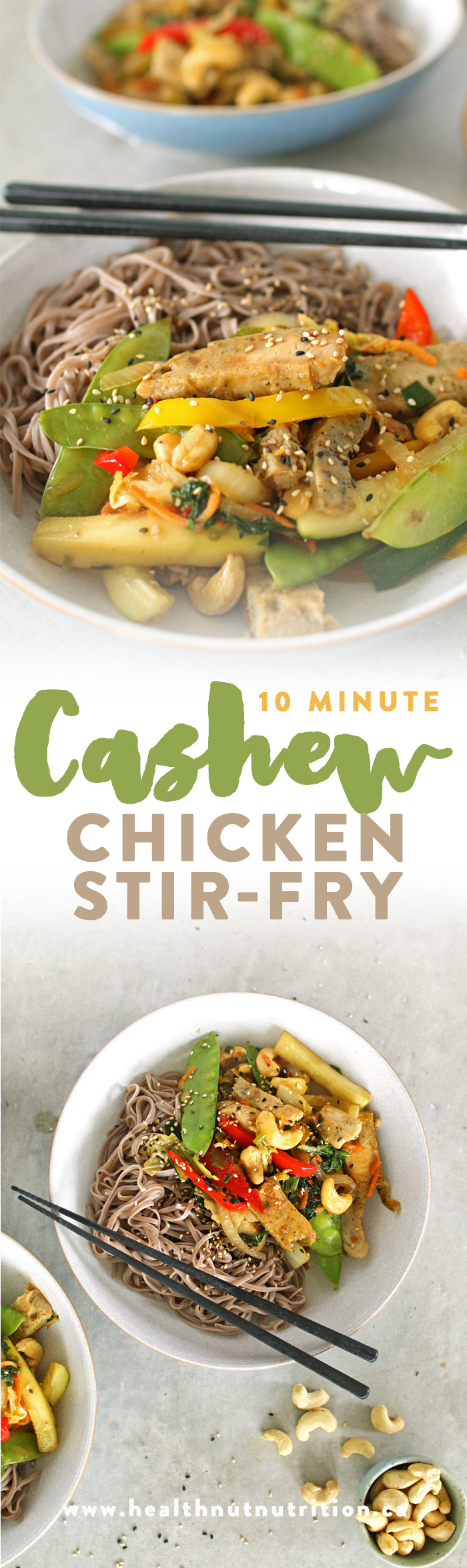 10 Minute Cashew Chicken Stir Fry! Pin now to save for later, or click to see more!