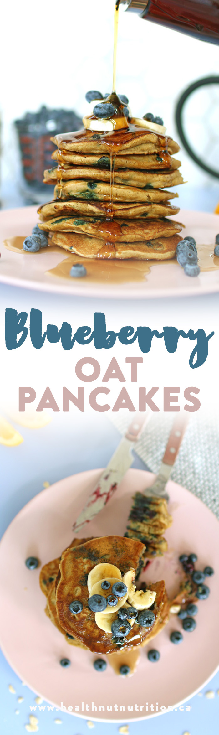 These Blueberry Oat Pancakes are delicious, moist, and fluffy and makes you feel like you're having cake for breakfast. Click through for the recipe!