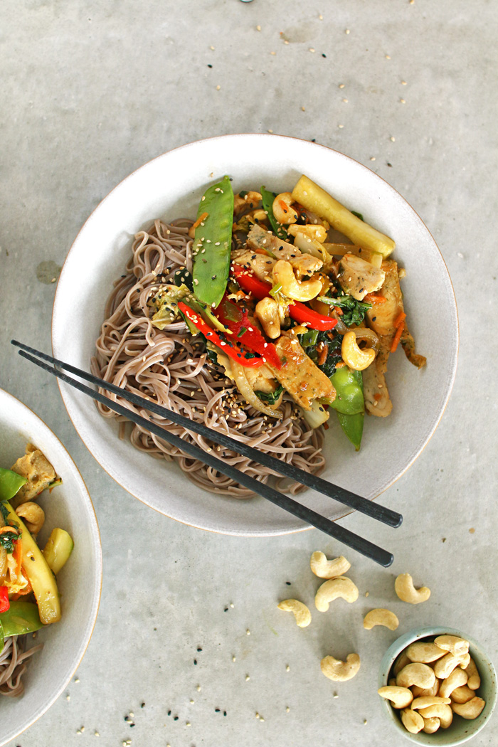 This simple 10 minute Cashew Chicken Stir-Fry is the perfect weeknight meal that you can throw together in one pan. It's simple, full of flavour and most of all healthy!