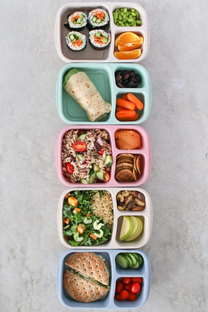 5 Easy Bento Box lunches perfect for meal prepping healthy meals Monday through Friday!