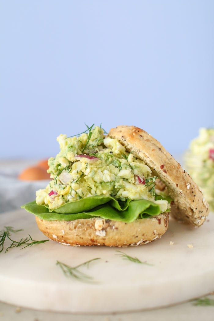 This simple Avocado Egg Salad is a healthy twist on traditional egg salad and best of all it's mayo free!