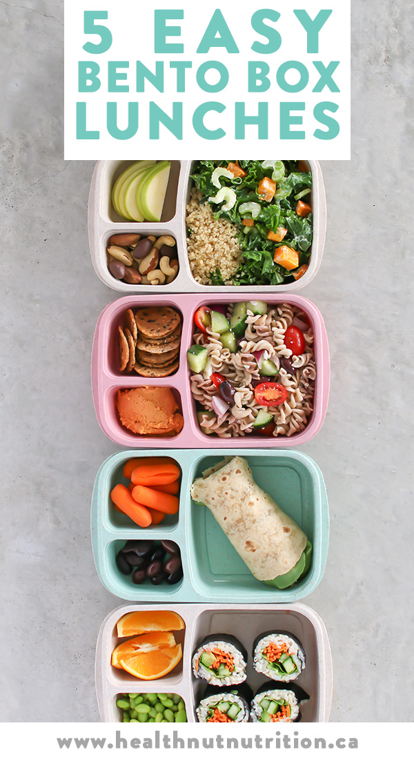 5 easy and healthy Bento Box lunches perfect for meal prepping your meals Monday through Friday! Click through for the recipes, or pin to save for later!