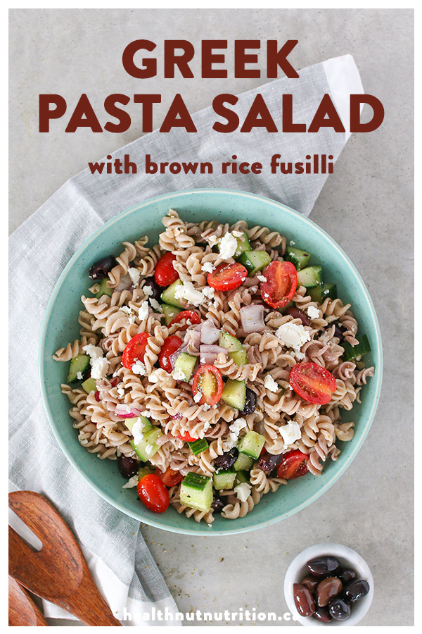 This colourful Greek inspired pasta salad is packed with crunchy veggies, feta and olives all tossed together with a simple herb vinaigrette.