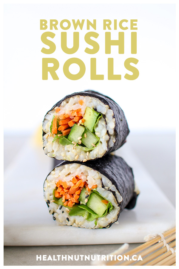 Sushi made easy with these healthy brown rice rolls stuffed with colourful veggies all wrapped up in toasted seaweed.