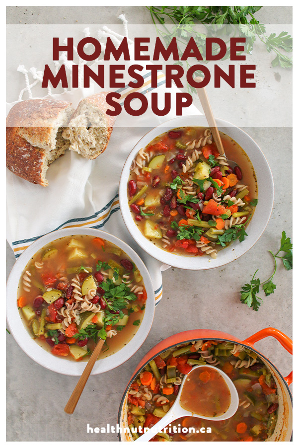 This homemade Minestrone soup is loaded with veggie goodness, hearty beans, and pasta: the ultimate healthy and complete meal in a bowl!
