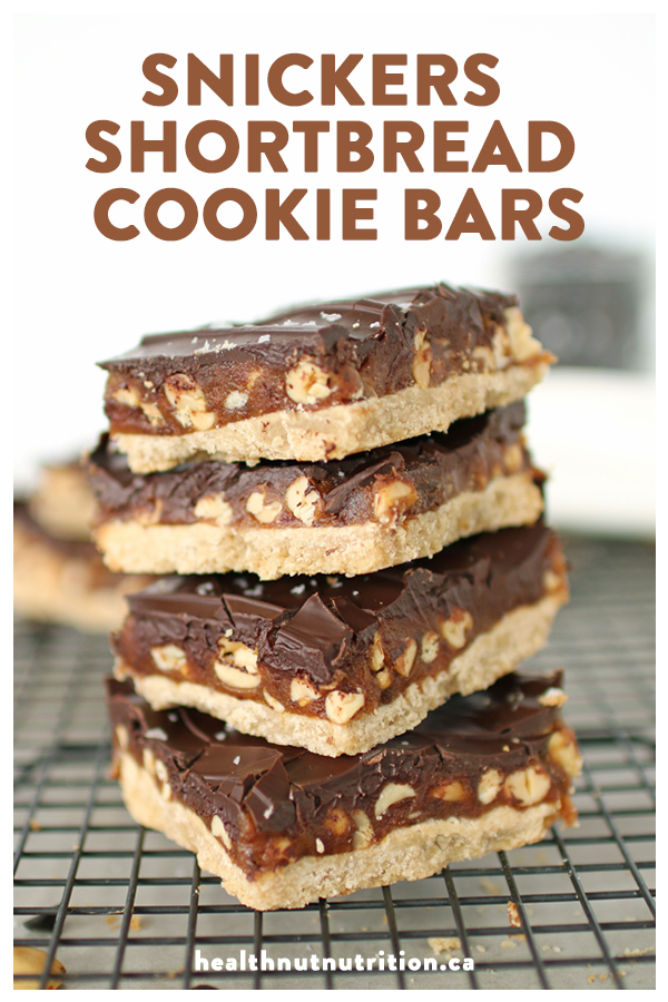 Decadent homemade Snickers Shortbread Cookie Bars made with a buttery shortbread base, sweet caramel nutty middle, topped with chocolate, that will melt in your mouth with every bite.