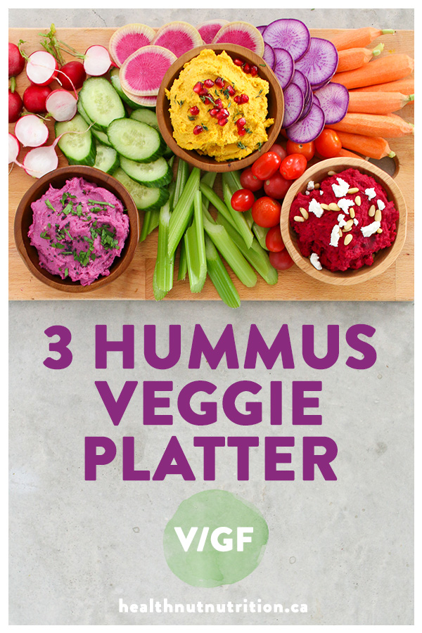 Vibrant veggie based hummus three ways to serve with your favourite crackers, chips and fresh veggies - perfect for any party or get together!