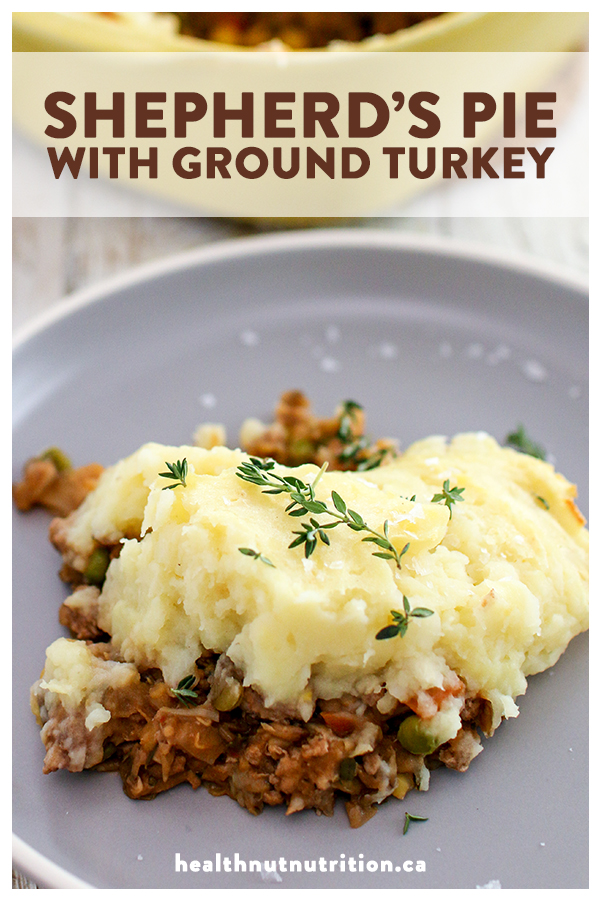 This all-time favourite recipe with a healthy twist is loaded with seasoned ground turkey, lentils, and veggies, all cooked in a savoury broth, then topped with fluffy potato and celery root mash.