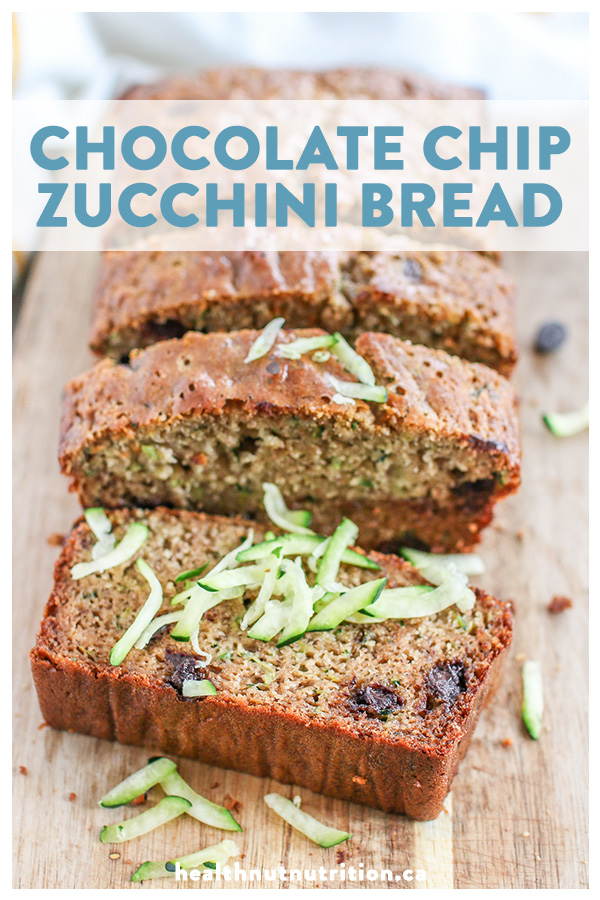 This chocolate chip zucchini bread is moist and flavourful, naturally sweetened and packed with grated zucchini and melt in your mouth chocolatey goodness.