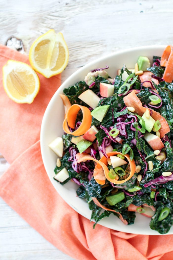 This seriously delicious winter detox salad made with crunchy kale, red cabbage and crispy apples, topped with a zingy lemony ginger dressing is the only salad you will want to eat this winter.