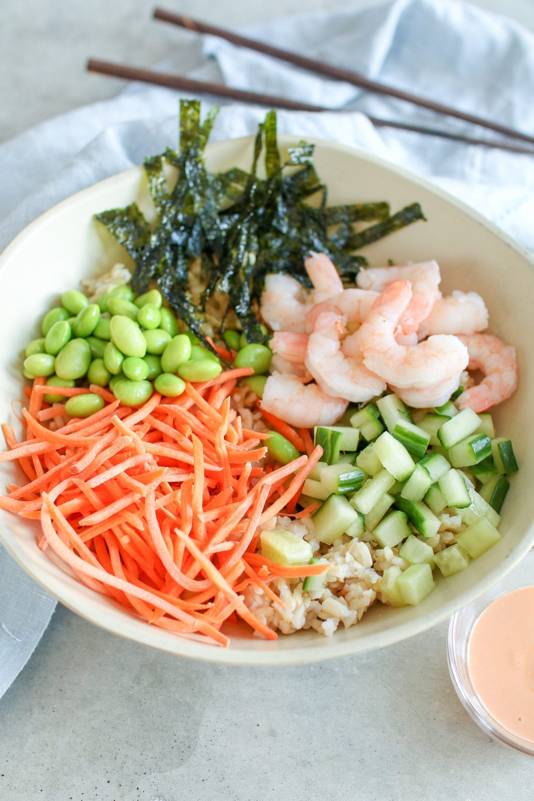 Get your sushi fix in this easy shrimp sushi bowl that's ready in 5 minutes!