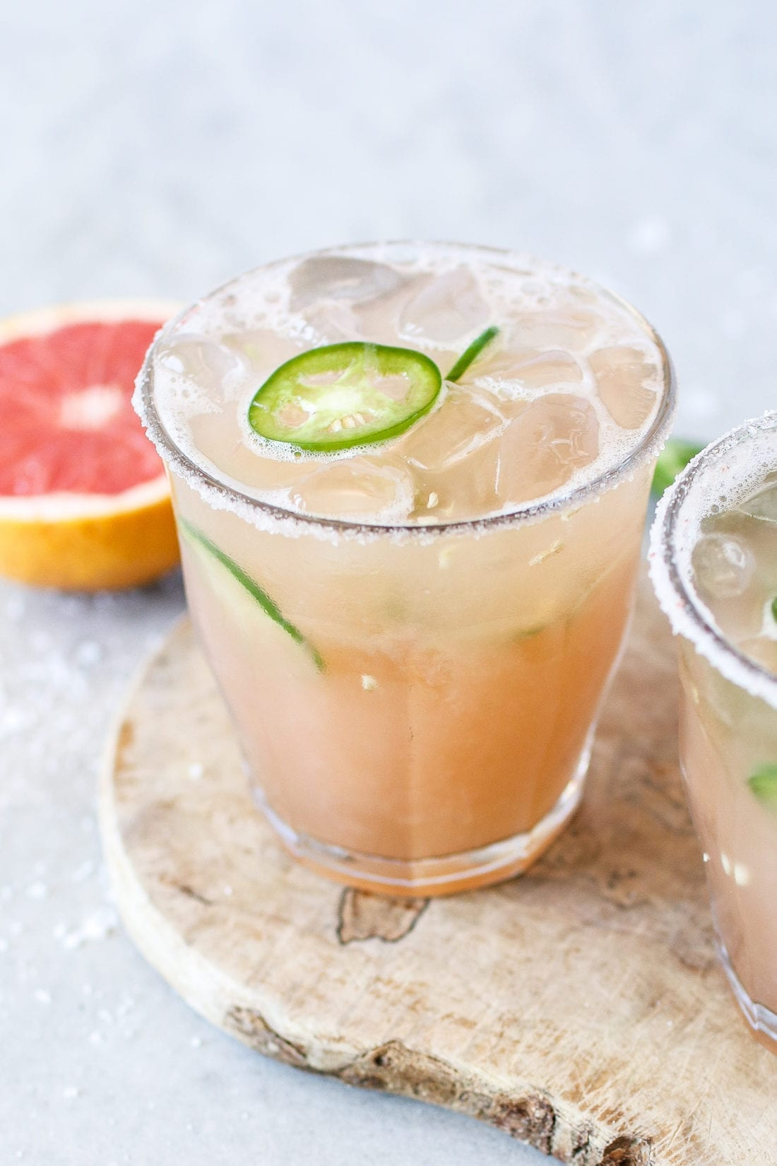 This Grapefruit Jalapeño Margarita is a refreshing cocktail made with fresh ingredients and just the right amount of spicy kick!