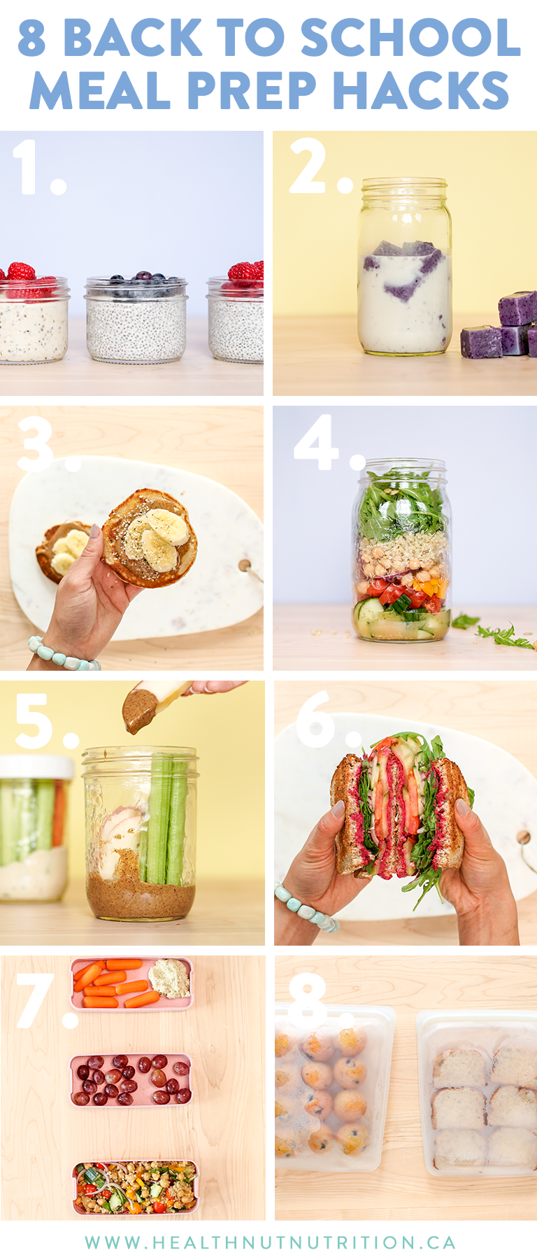 8 MUST KNOW meal prep hack to help you save time during the back to school season! Even if you're not a student (like myself), these tricks can apply to anyone who is looking to step up their meal prepping game by making healthy and delicious foods and save time while doing it.