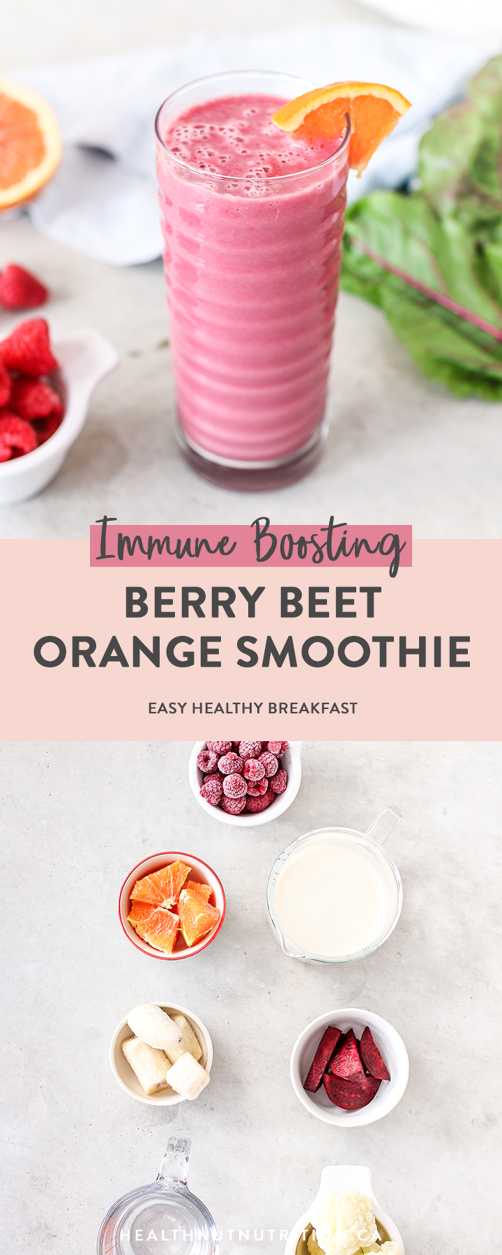 This pretty in pink vibrant beet, berry and orange smoothie is packed full of veggie and immune-boosting Vitamin C and antioxidants for a burst of nutrients to start your day!