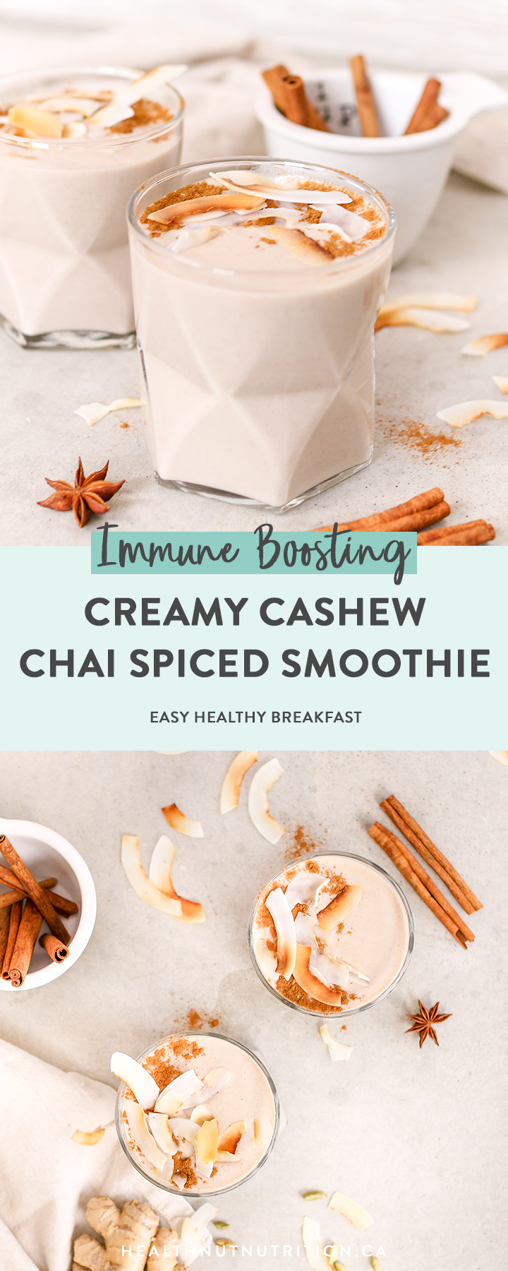 This Cashew Chai Spiced Smoothie is so creamy with warming spices like cinnamon, cardamom, nutmeg, and ginger. Ready in 5 minutes, this latte inspired smoothie for breakfast never looked so cozy!