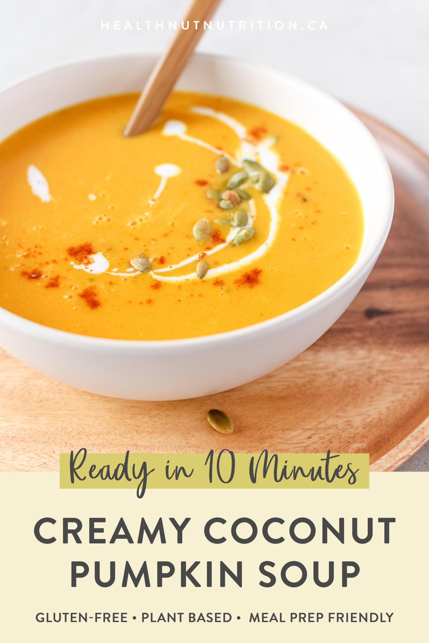 This rich and Creamy Coconut Pumpkin Soup made with pumpkin purée and coconut milk is packed full of flavour and ready in 10 minutes!