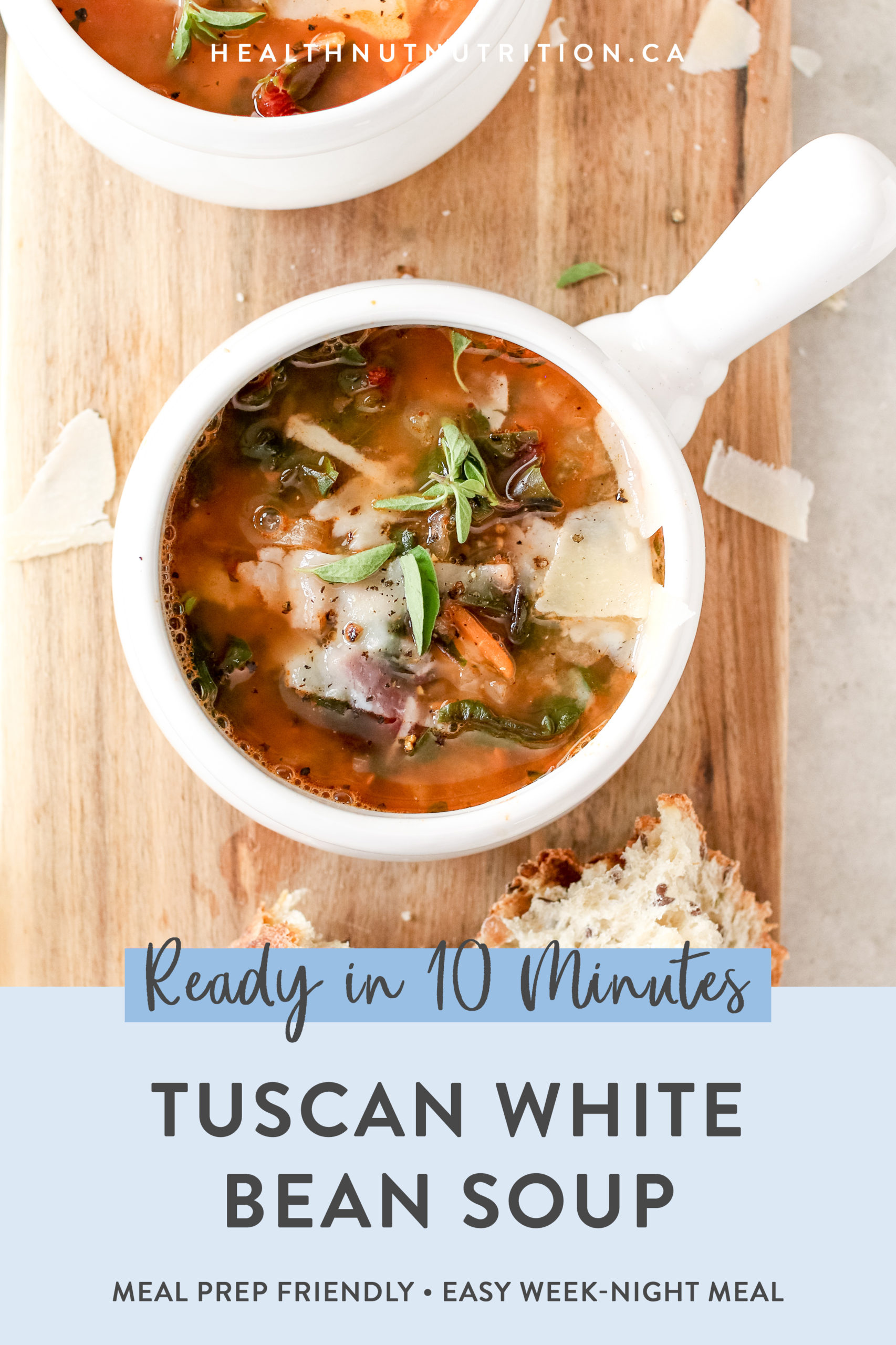 This Tuscan White Bean Soup is hearty and so comforting. Full of white beans, swiss chard, and fresh herbs. Super simple to make and ready in 10 minutes!