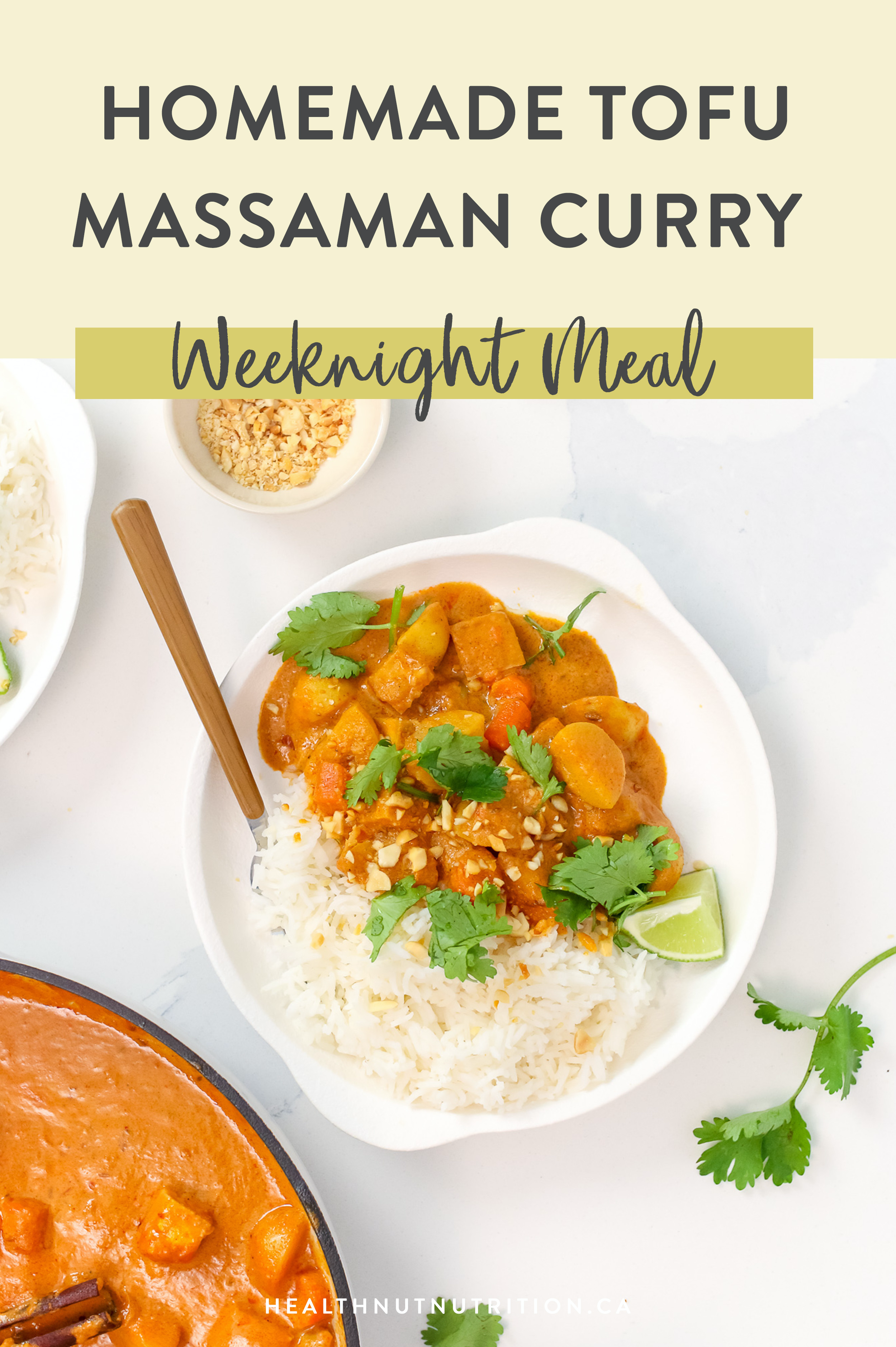 This Thai inspired Homemade Massaman Curry is saucy, comforting and delicious. Made with onion, carrots, potatoes and crispy tofu simmered in an aromatic sauce and served over jasmine rice. It's quick, easy and only requires 1 pot to make!